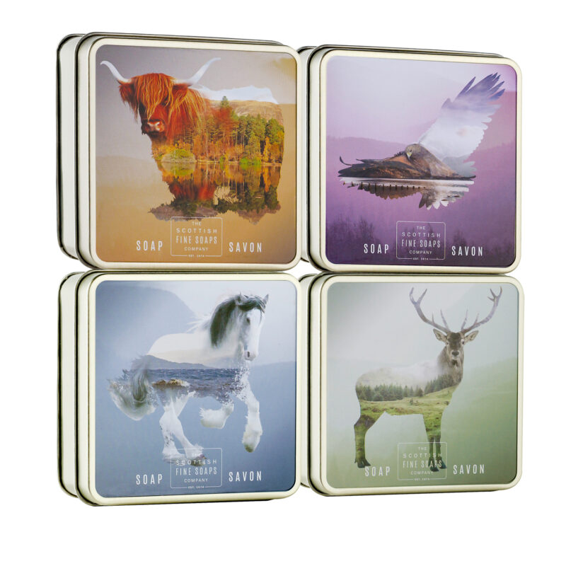 The Scottish Fine Soaps Company – Set of 4 Scottish Wildlife Soaps in Gift Tins