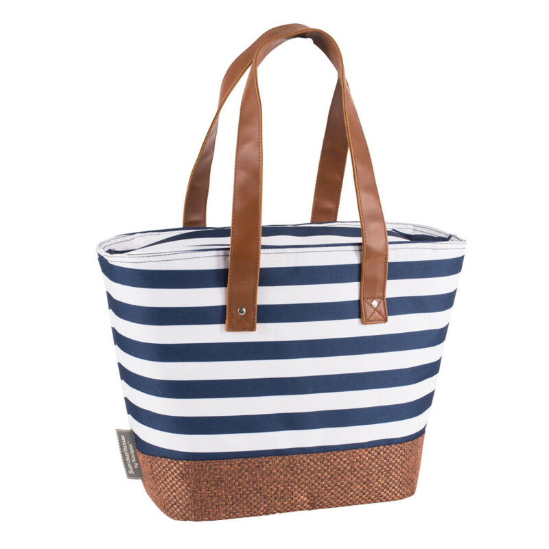 Navigate – Summerhouse Coast Navy Stripe Insulated Cool Shoulder Tote/Bag