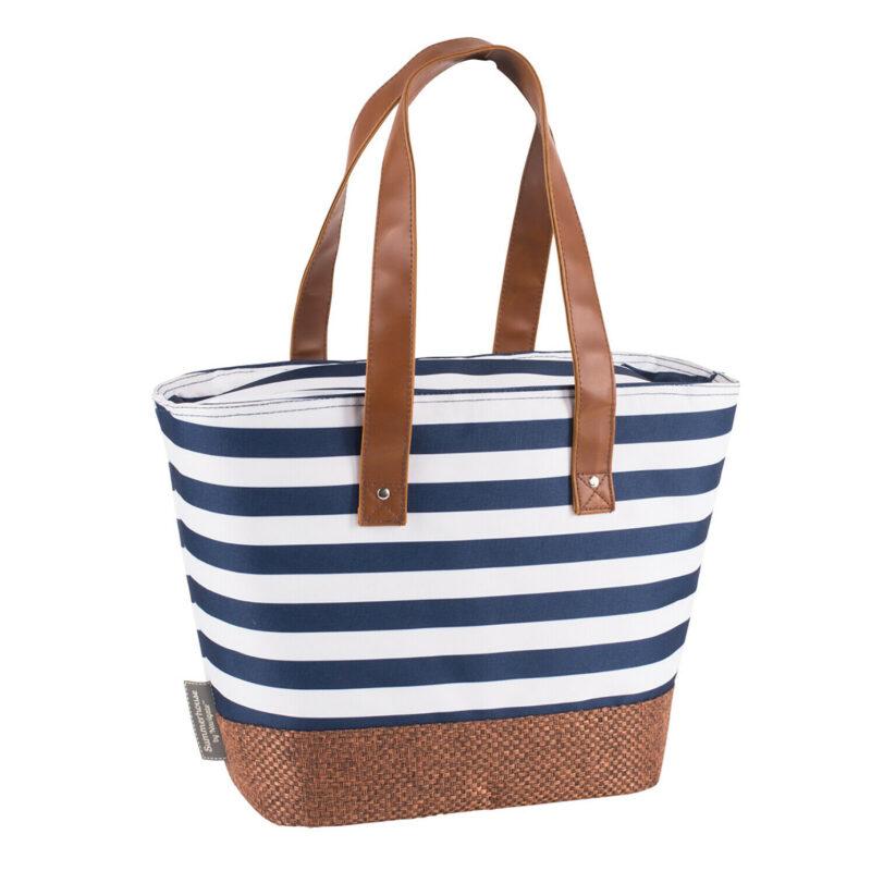 Navigate – Summerhouse Coast Navy Stripe Insulated Cool Shoulder Tote/Bag