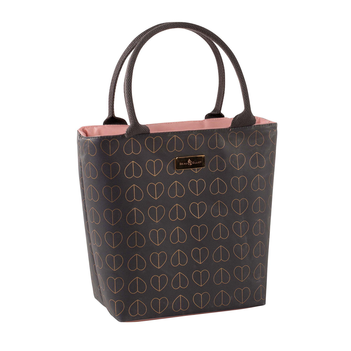 Beau & Elliot – Dove Grey Insulated Lunch Tote Bag & Pink Blush Travel Mug