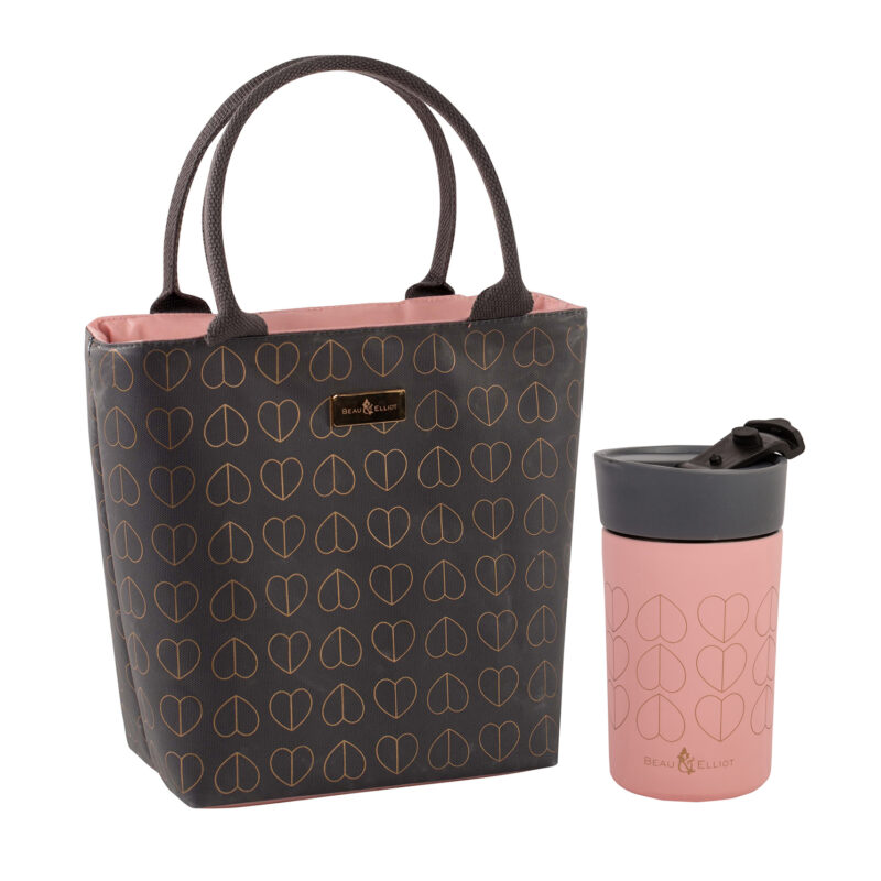 Beau & Elliot – Dove Grey Insulated Lunch Tote Bag & Pink Blush Travel Mug