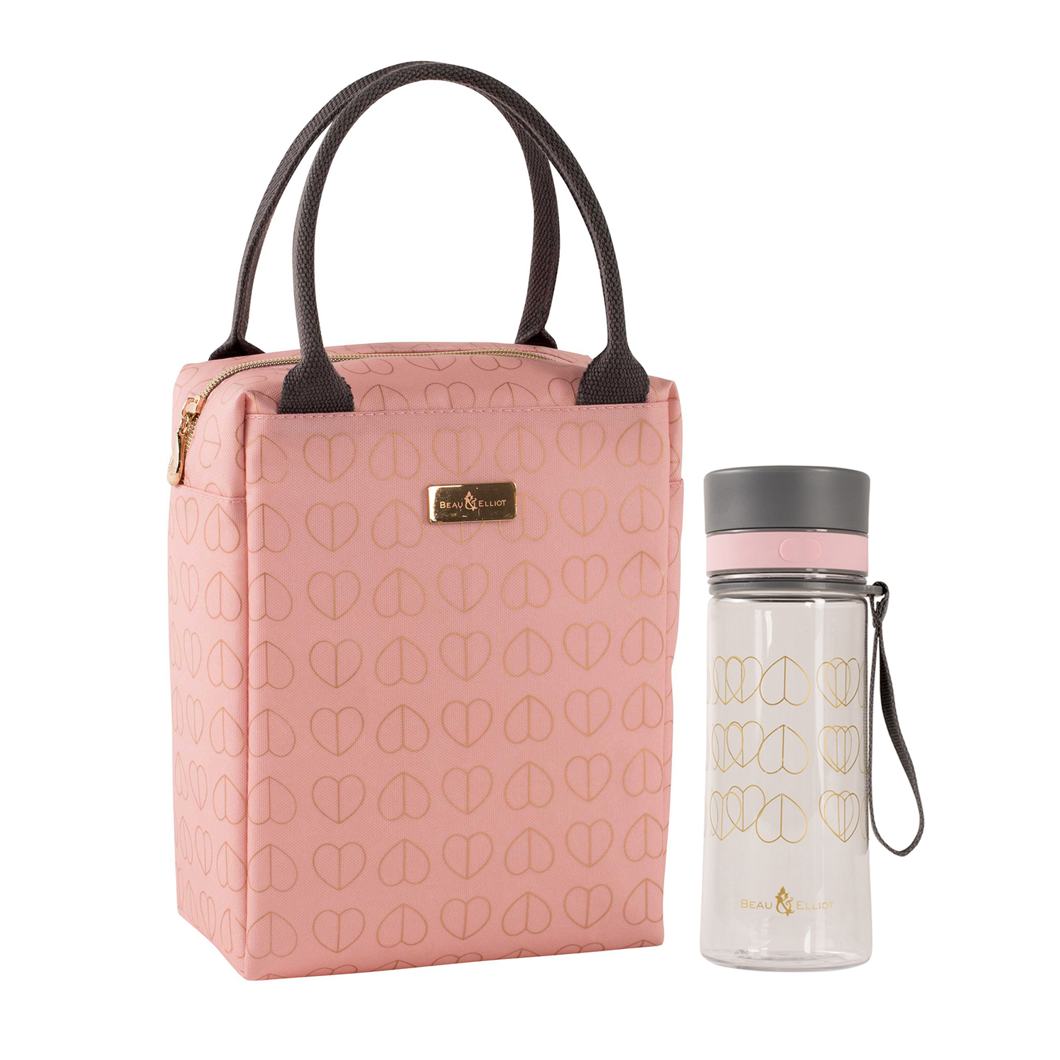 Beau & Elliot – Pink Blush Insulated Lunch Tote Bag & Matching Hydration Bottle