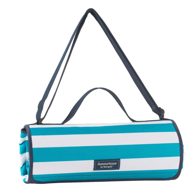 Navigate – Summerhouse Coast Aqua Stripe Picnic Blanket/Rug with Carry Handle