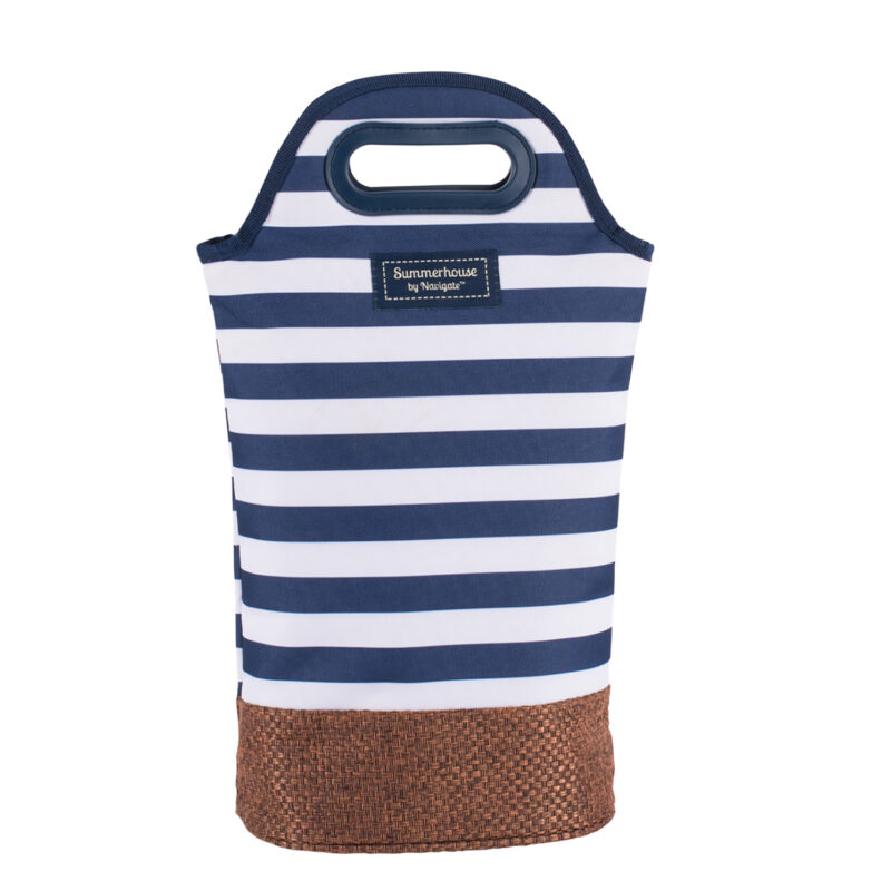 Navigate – Summerhouse Coast Navy Stripe Twin Bottle Insulated Cool Carrier