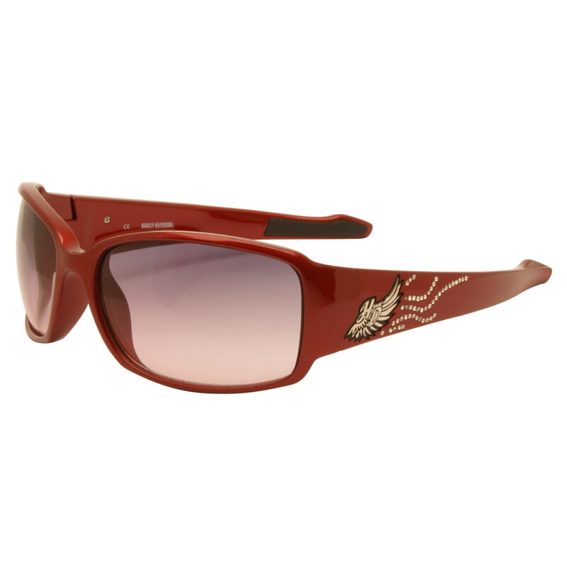 Harley Davidson – Metallic Red & Diamante Wraparound Style Sunglasses with Case