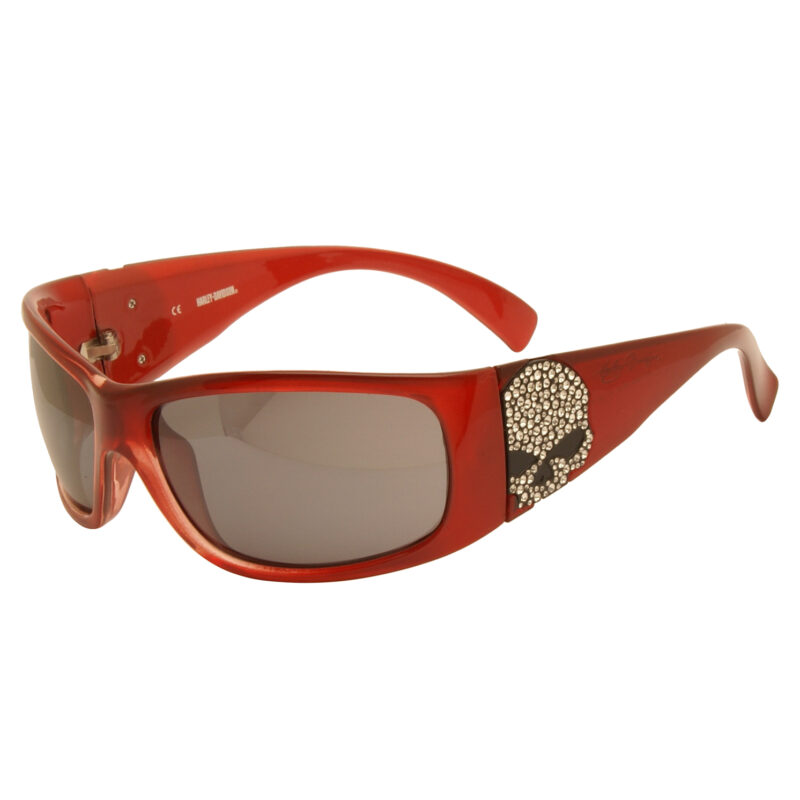 Harley Davidson – Red with Diamante Skull Wraparound Style Sunglasses with Case