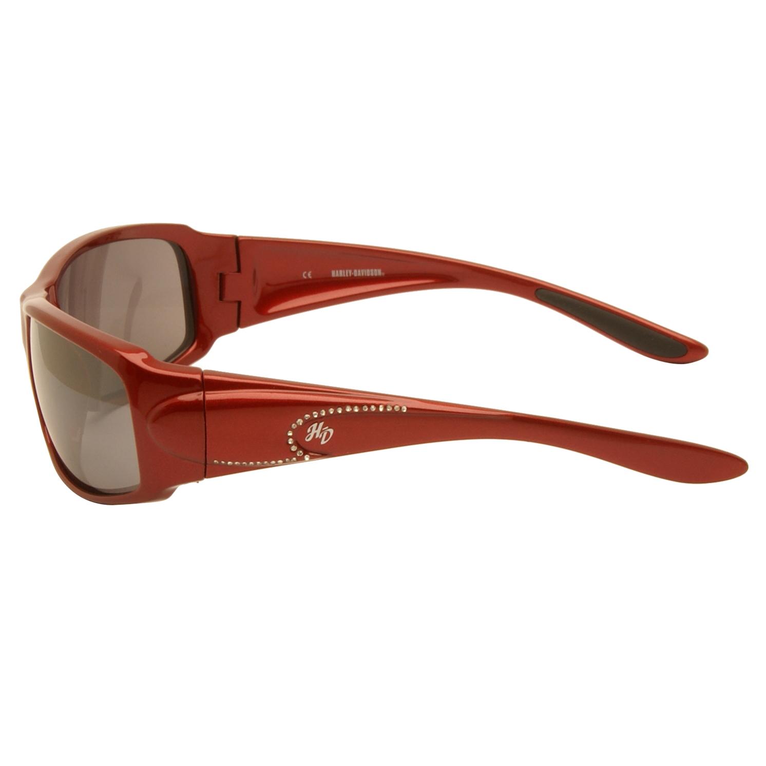 Harley Davidson – Shiny Red & Diamante Wraparound Style Sunglasses with Case