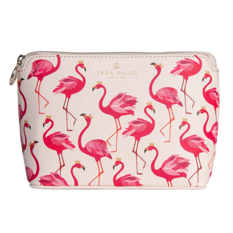 Sara Miller – Pink Flamingo Textured Matt Fabric Small Cosmetic Bag