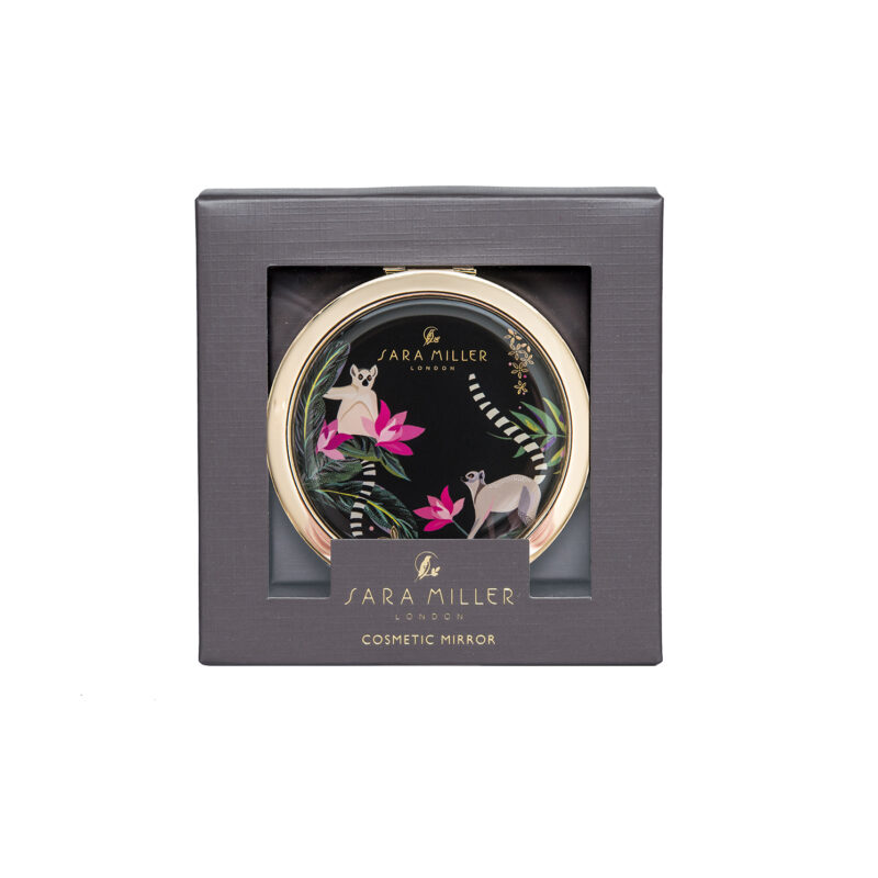 Sara Miller – Green Tahiti Lemur Design Cosmetic Mirror in Presentation Gift Box