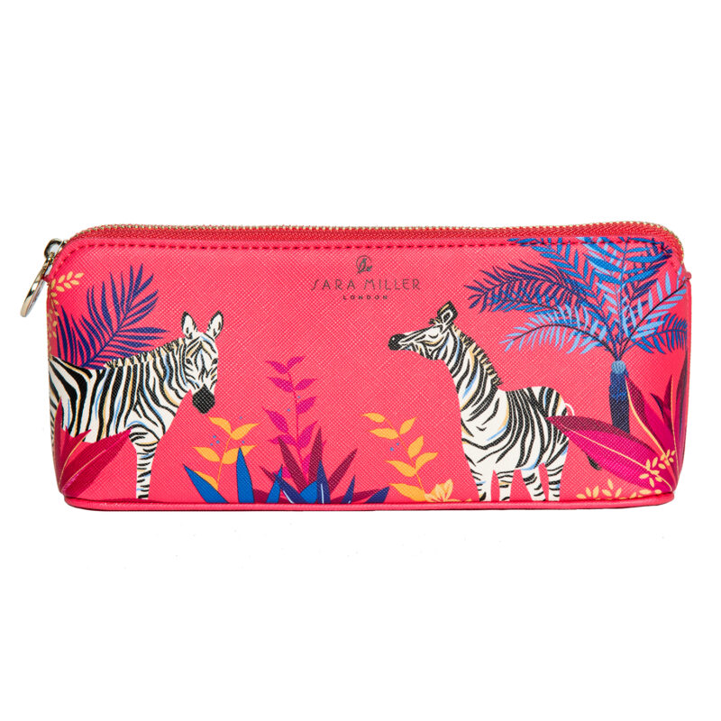 Sara Miller – Orange Tahiti Zebra Design Large Pencil Case