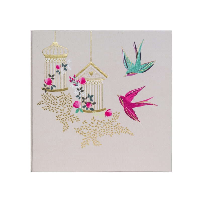 Sara Miller – Pink and Green Swallow Birds Large Photo Album