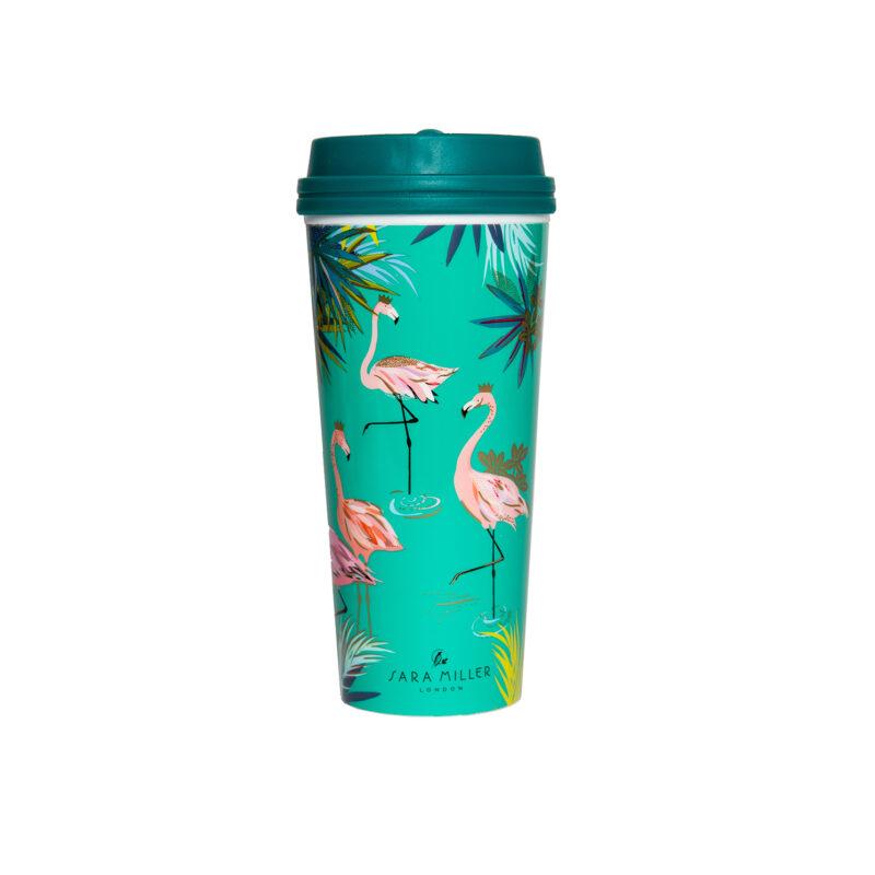 Sara Miller – Green Flamingo Tahiti Design Thermal Tumbler/Flask