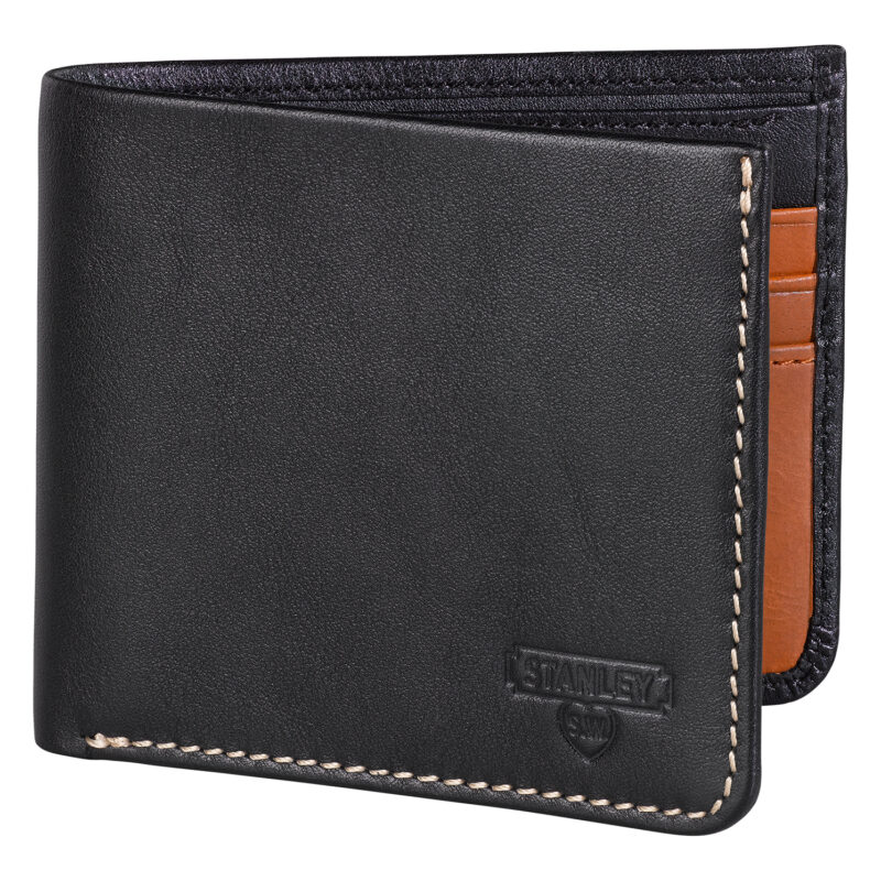 Stanley Tools – Black & Tan Bi-Fold Leather Wallet in Metal Presentation Tin