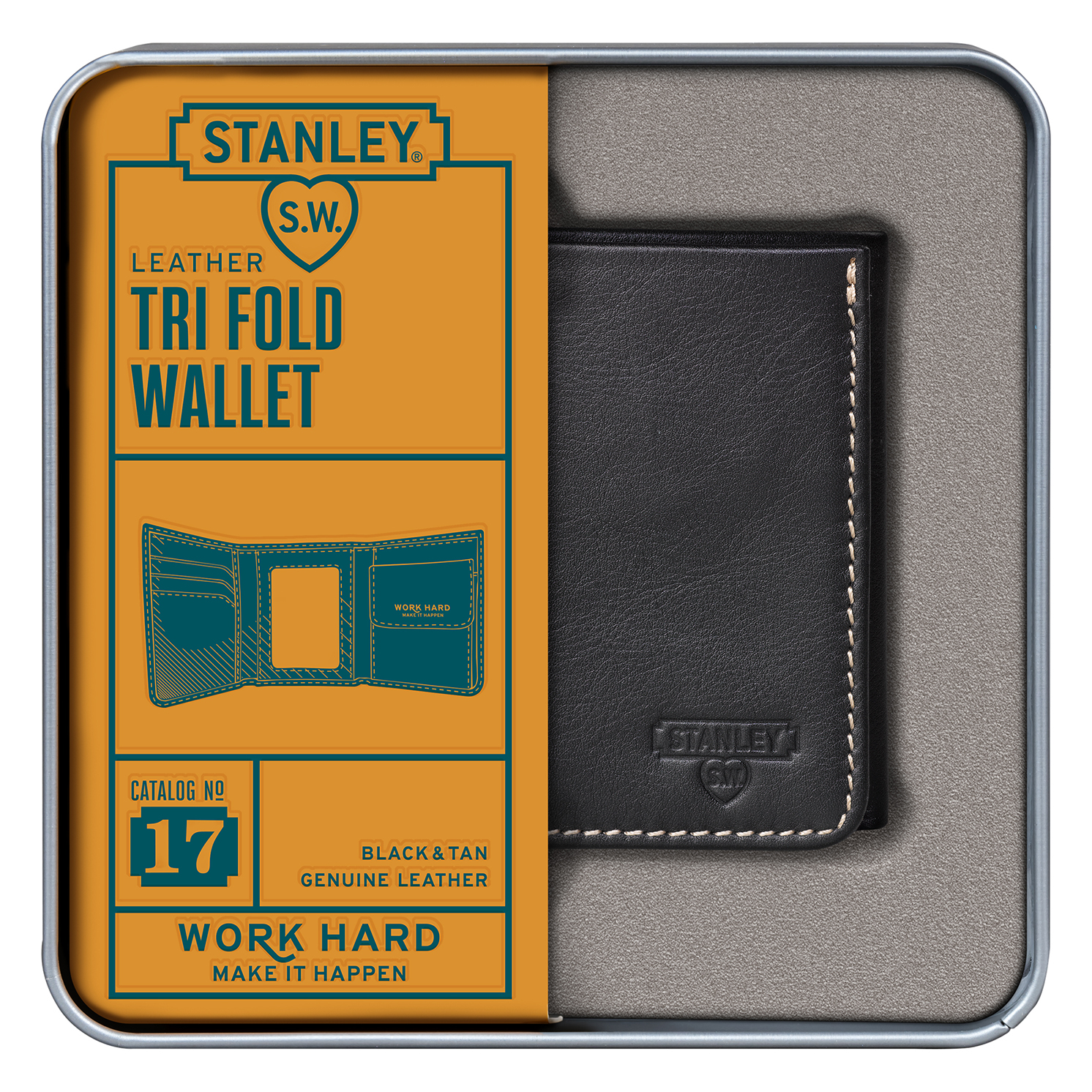 Stanley Tools – Black & Tan Tri-Fold Leather Wallet in Metal Presentation Tin