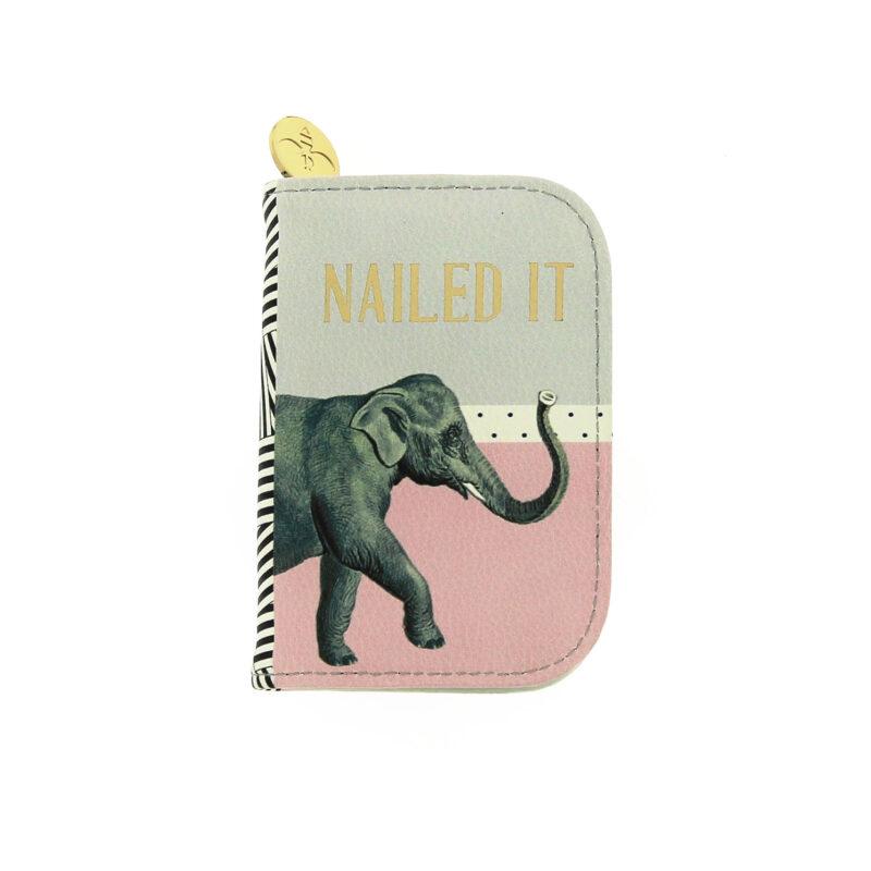 Yvonne Ellen – 4 Piece Manicure Set in Pink & Grey Elephant Print Zip Case