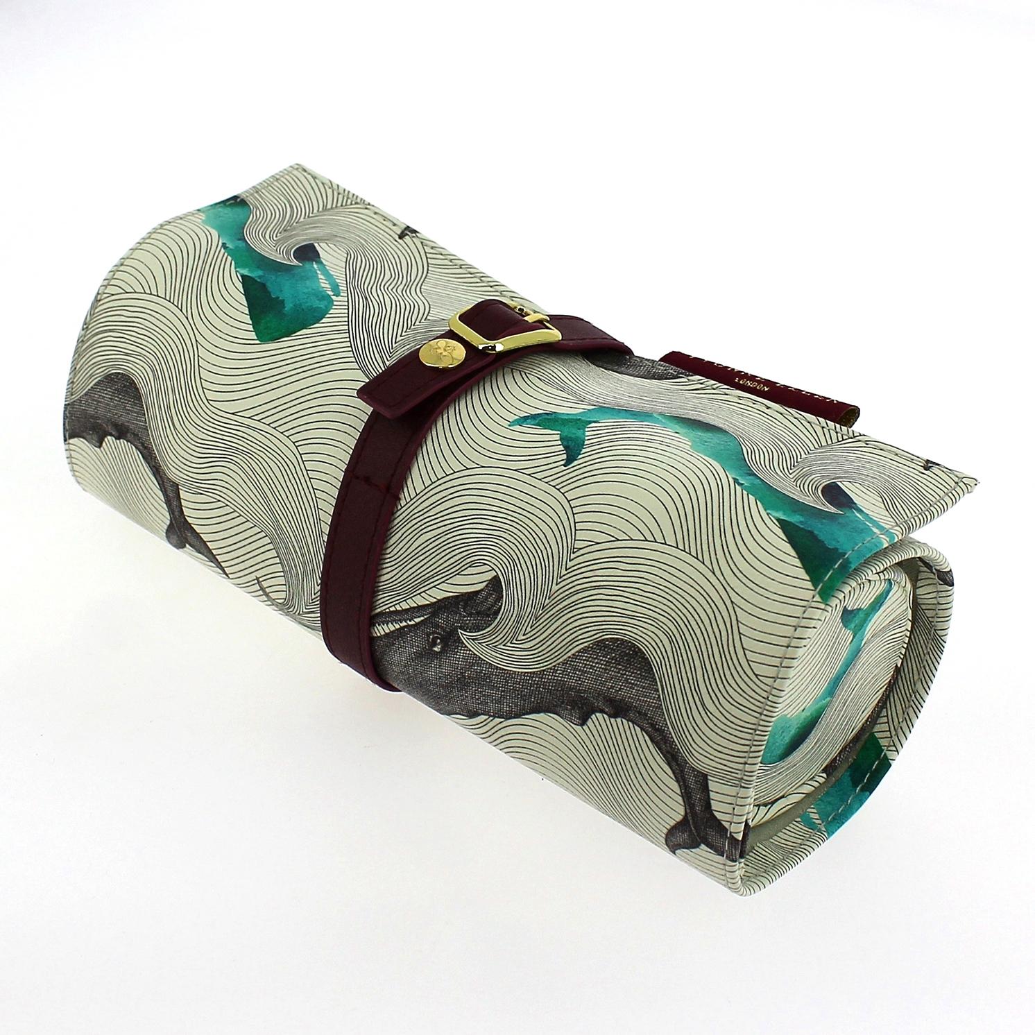Yvonne Ellen – Cream Whales Print Jewellery Roll/Wrap with Burgundy Trim
