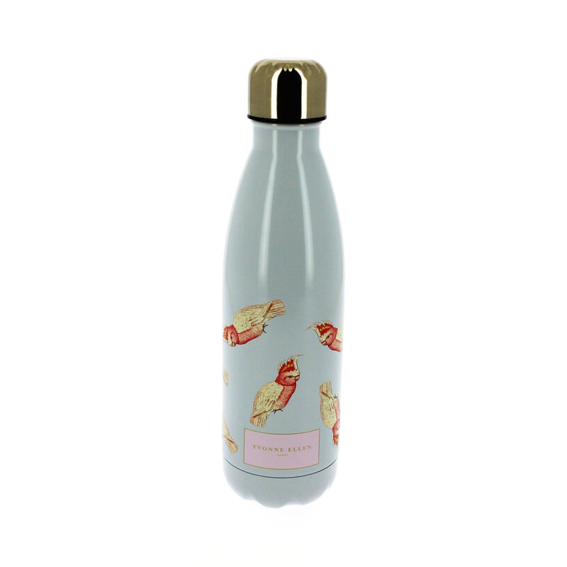 Yvonne Ellen – Grey with Pink Parrot Print Stainless Steel Water Bottle