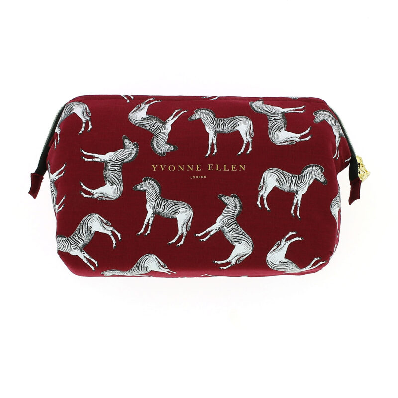 Yvonne Ellen – Burgundy Zebra Print Structured Top Toiletry/Washbag