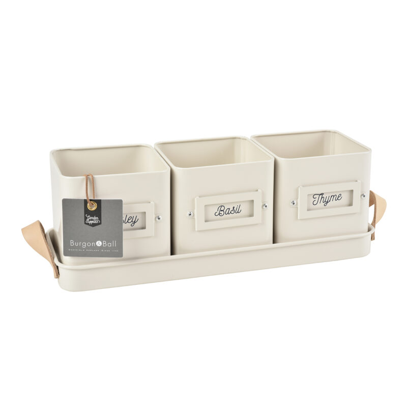 Burgon & Ball – Stone Coloured 3 Herb Pots in a Leather Handled Tray