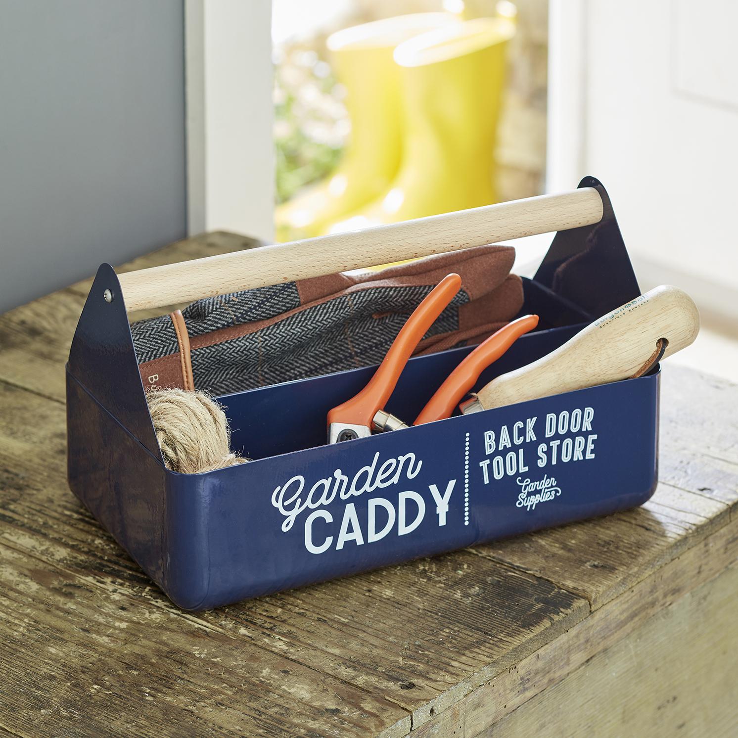 Burgon & Ball – Atlantic Blue Coloured Garden Caddy with Beech Wood Handle