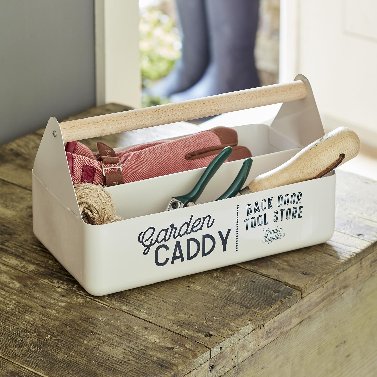 Burgon & Ball – Stone Coloured Garden Caddy with Beech Wood Handle