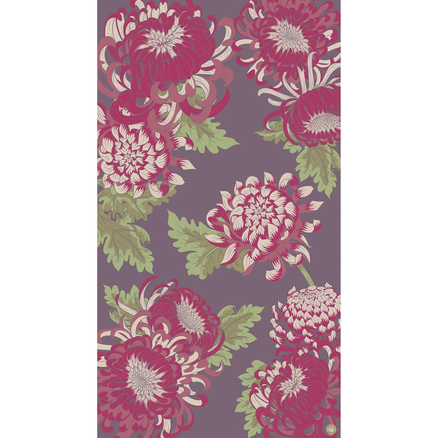 Powder – Damson Chrysanthemum Print Scarf with Powder Presentation Gift Bag