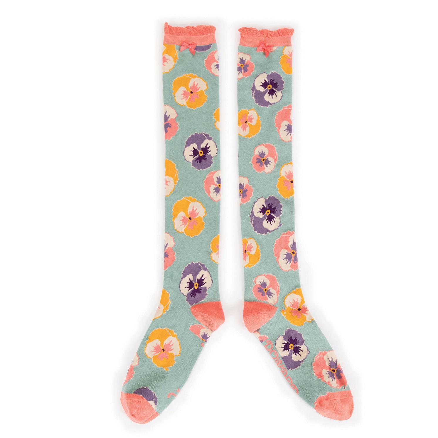Powder – Mint Pansy Knee High Socks with Presentation Gift Bag