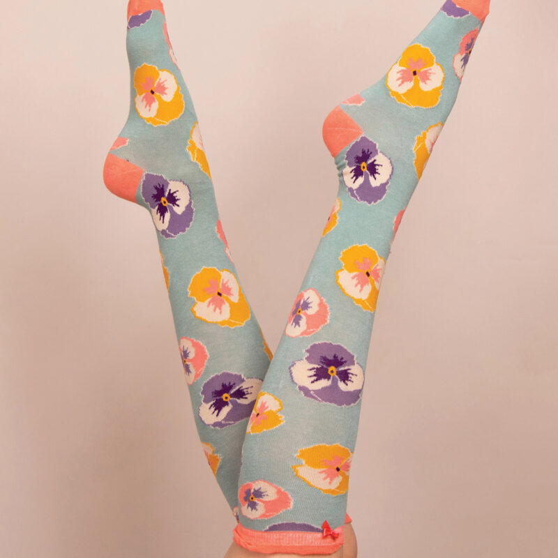 Powder – Mint Pansy Knee High Socks with Presentation Gift Bag