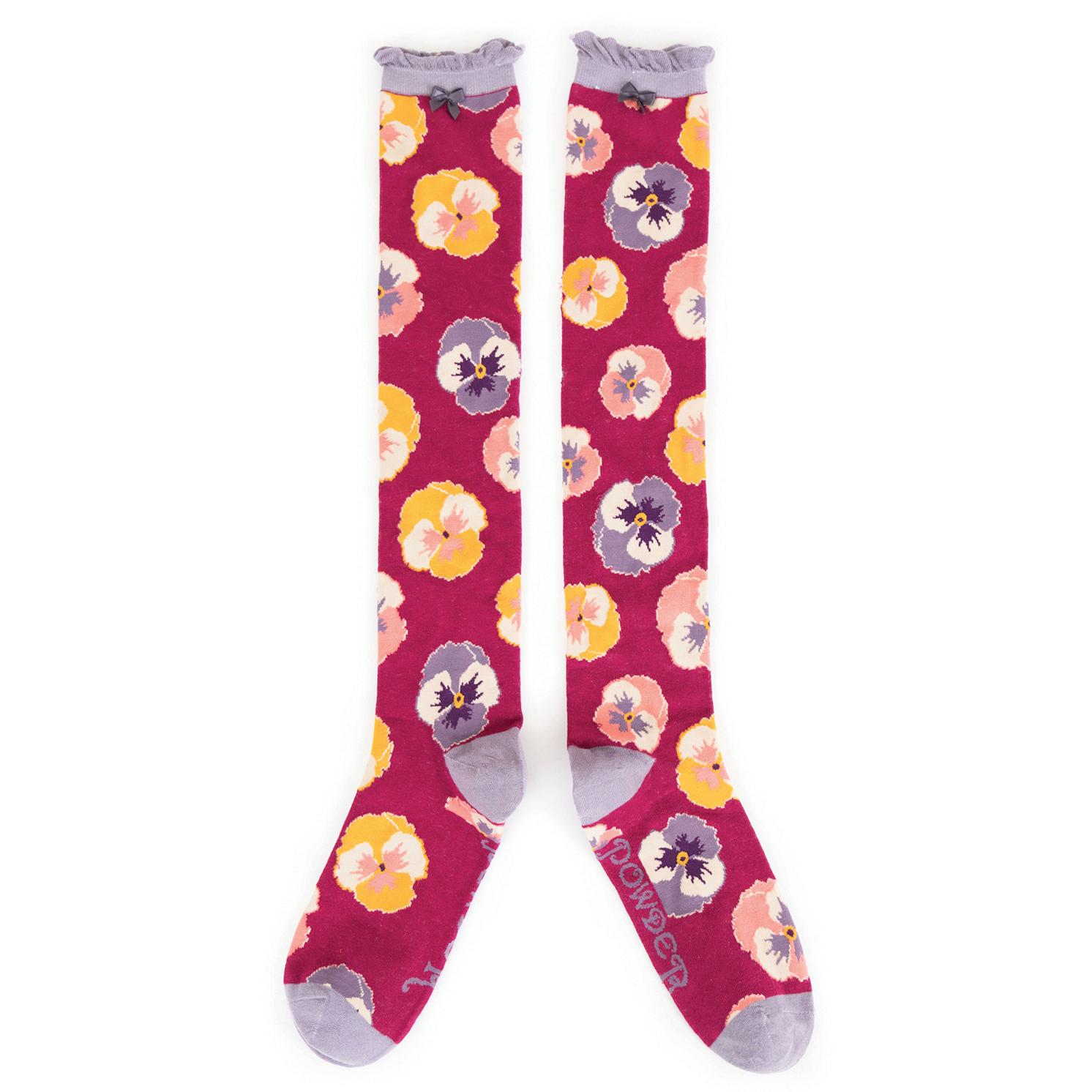Powder – Fuchsia Pansy Knee High Socks with Presentation Gift Bag