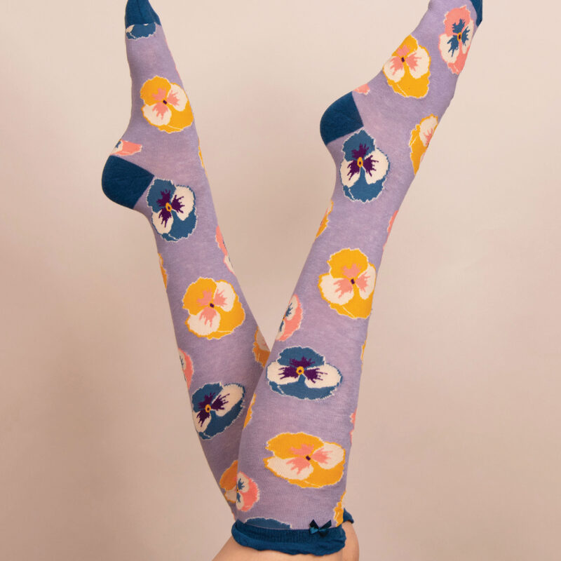 Powder – Lavender Pansy Knee High Socks with Presentation Gift Bag