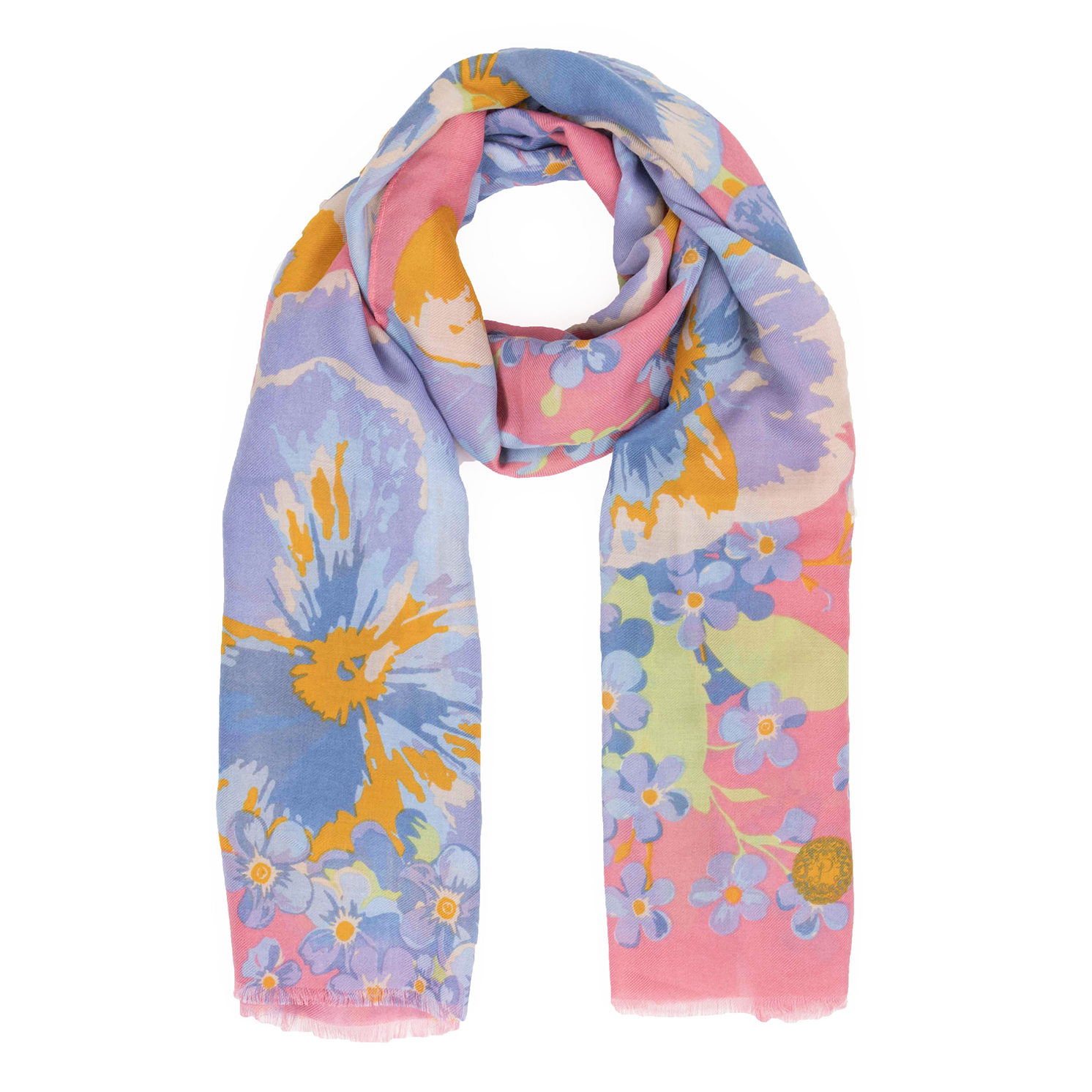 Powder – Pink Pansy Print Scarf with Powder Presentation Gift Bag