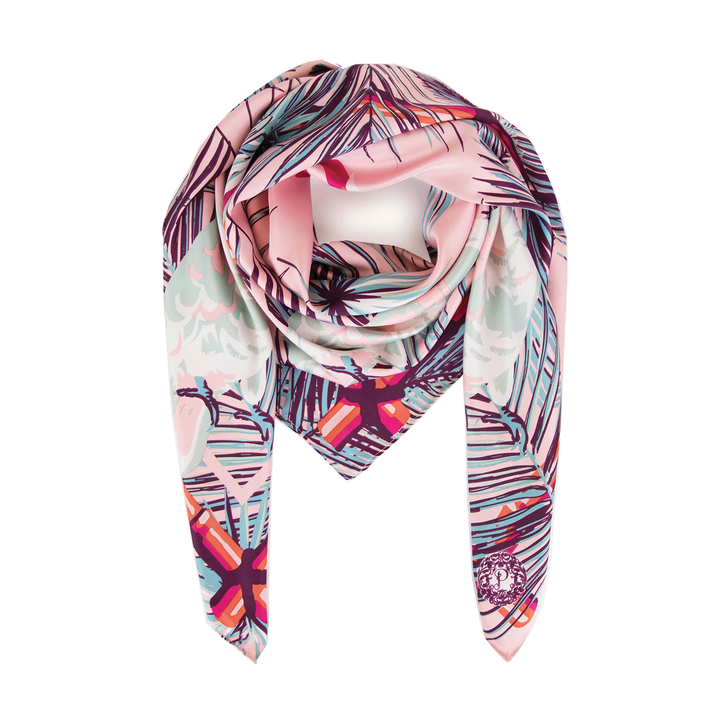Powder – Cockatoo Satin Square Scarf with Powder Presentation Gift Bag