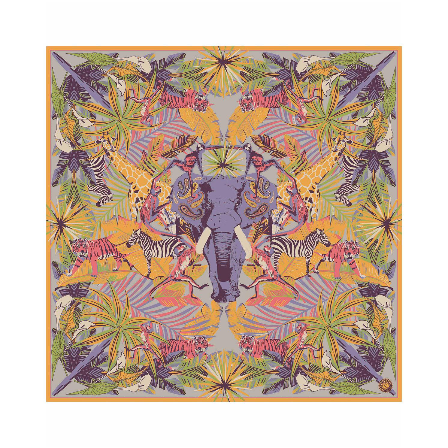Powder – Elephant Parade Satin Square Scarf with Powder Presentation Gift Bag