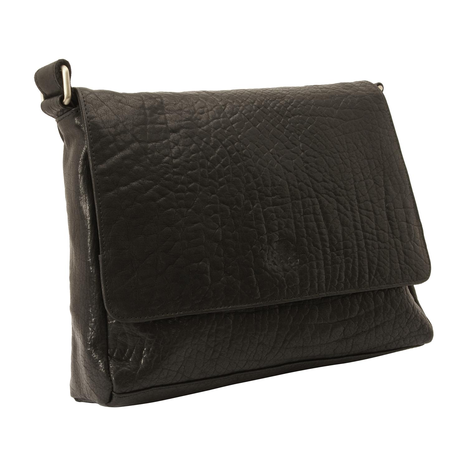 Rowallan – Black Veneer East/West Front Flap Messenger Bag in Buffalo Leather
