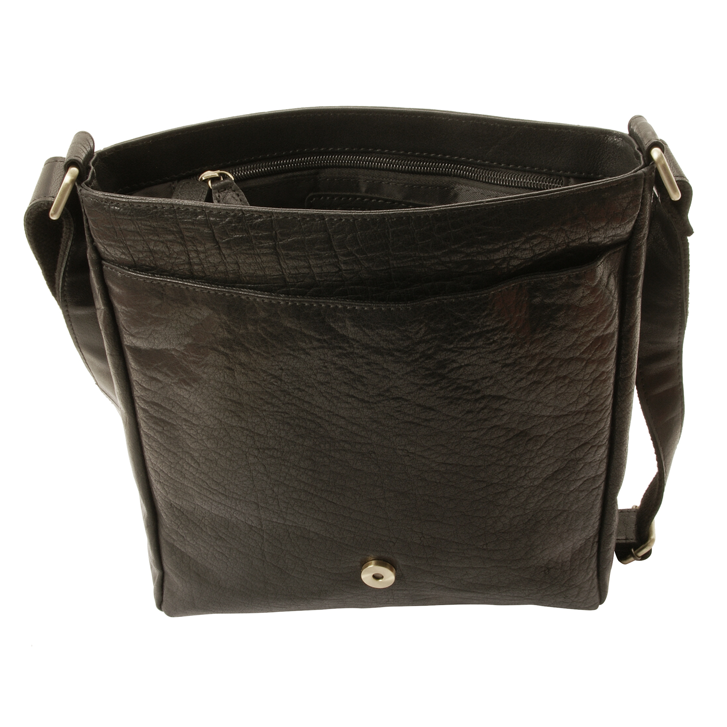 Rowallan – Black Veneer North/South Front Flap Messenger Bag in Buffalo Leather