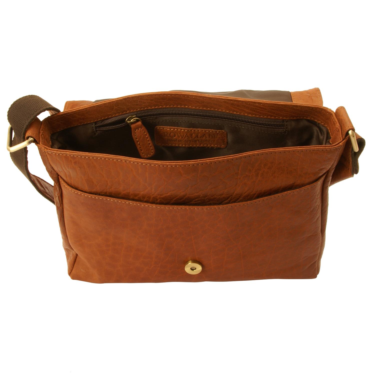 Rowallan – Tan Veneer East/West Front Flap Messenger Bag in Buffalo Leather