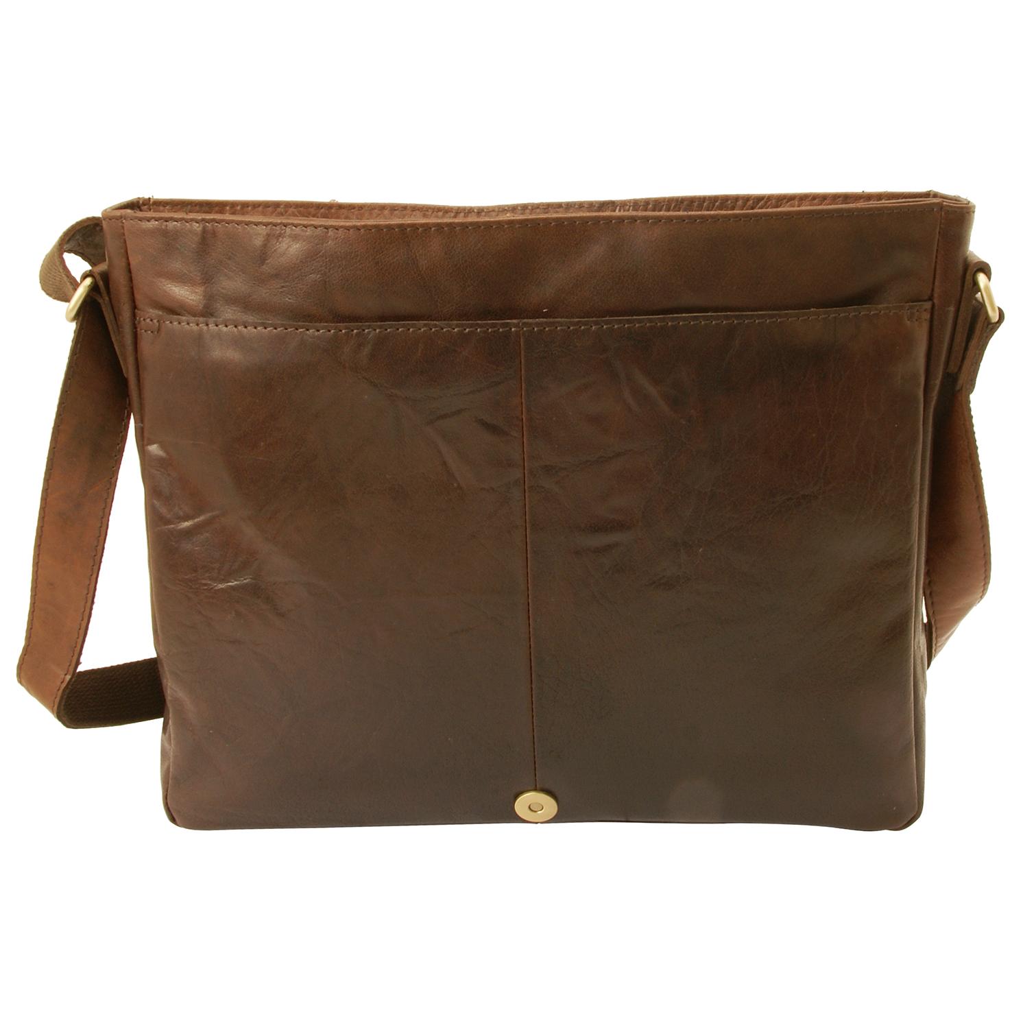 Rowallan – Brown East/West Medium Conquest Messenger Bag in Buffalo Leather