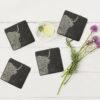The Just Slate Company – Set of 4 Hare Engraved Natural Slate Coasters