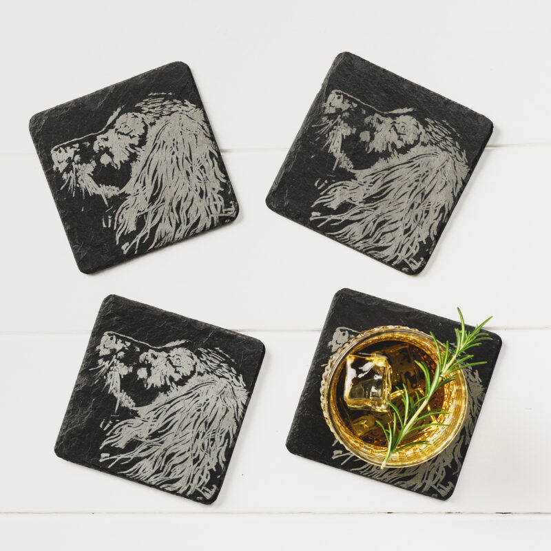 The Just Slate Company – Set of 4 Spaniel Engraved Natural Slate Coasters