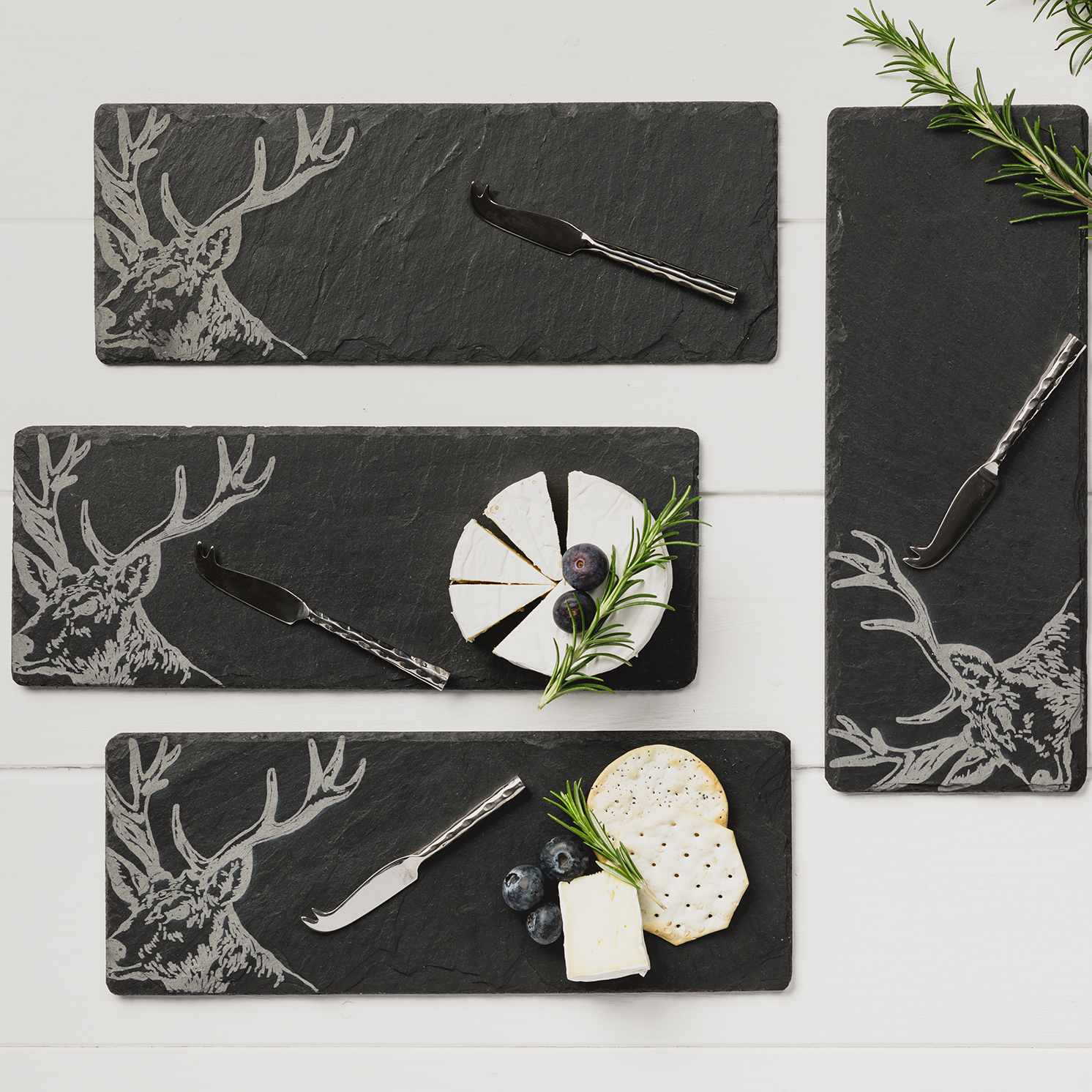 The Just Slate Company – 4 Slate Stag Mini Cheese Boards & Knives Gift Set