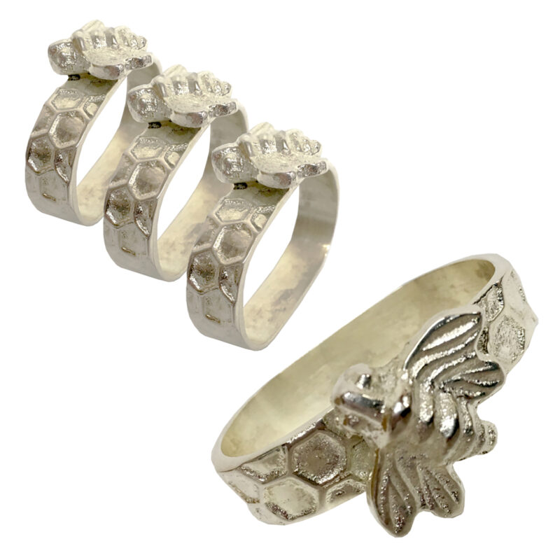 Culinary Concepts – Set of 4 Honeycomb/Bee Napkin Rings in Presentation Gift Box