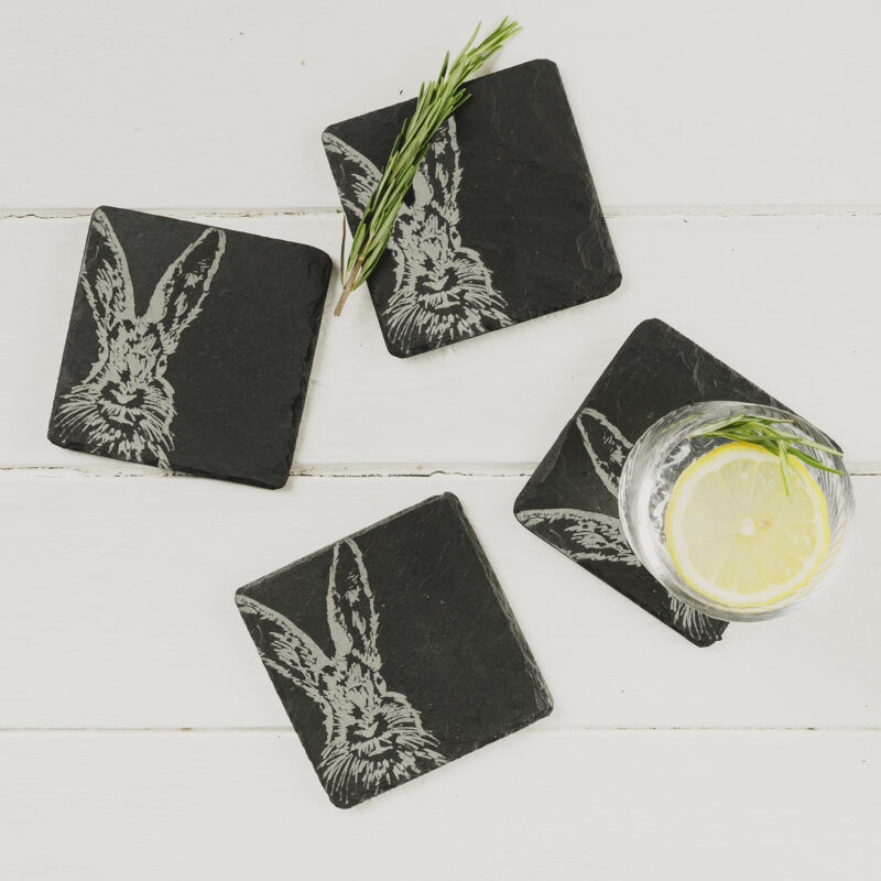 The Just Slate Company – Set of 4 Hare Engraved Natural Slate Coasters