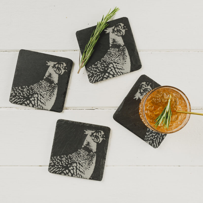 The Just Slate Company – Set of 4 Pheasant Engraved Natural Slate Coasters