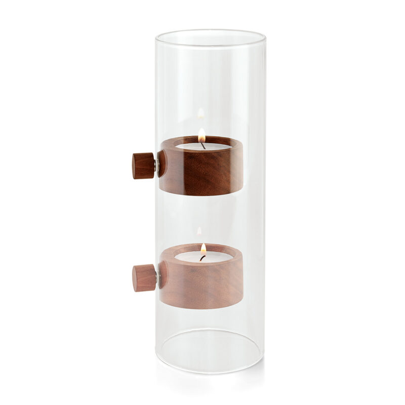 Philippi – 'Lift' Glass Tealight Holder with Walnut Wood in Box