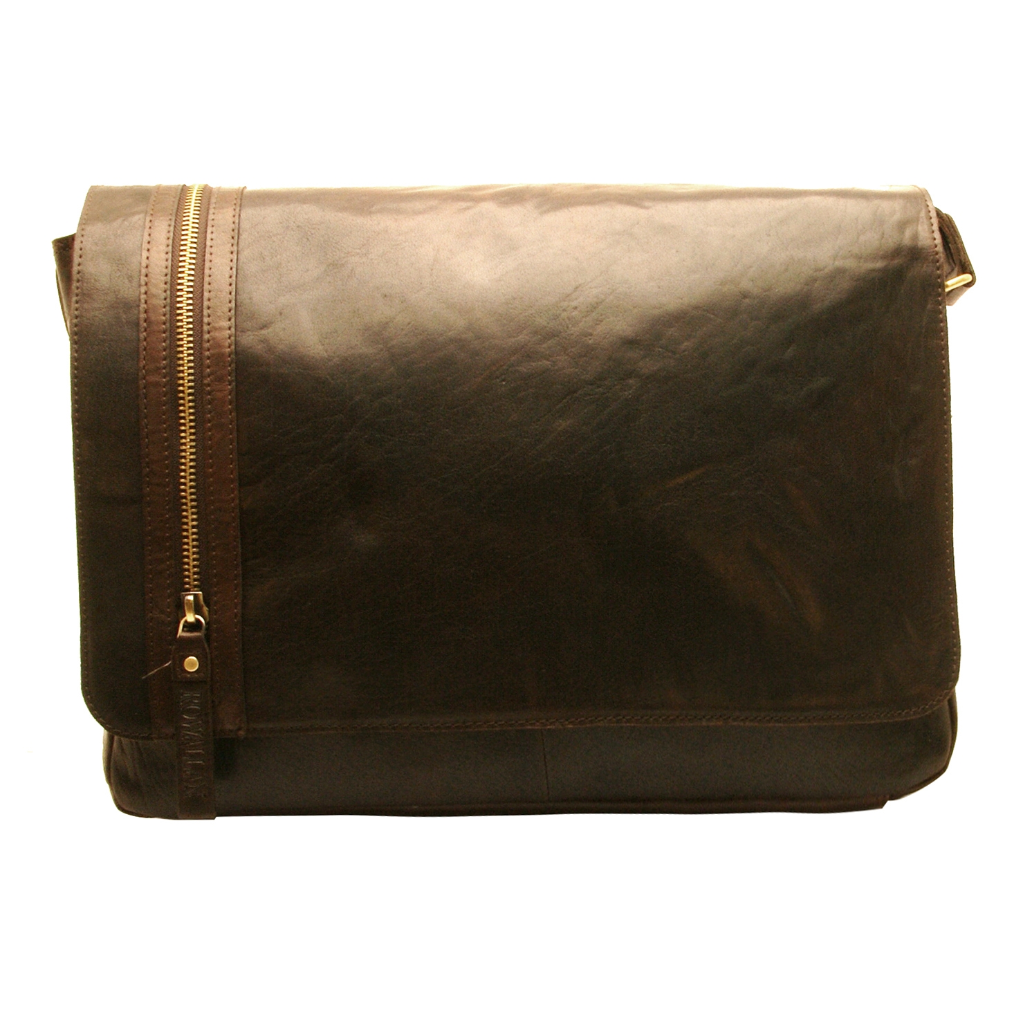 Rowallan – Large Brown Conquest Messenger Laptop Bag in Buffalo Leather
