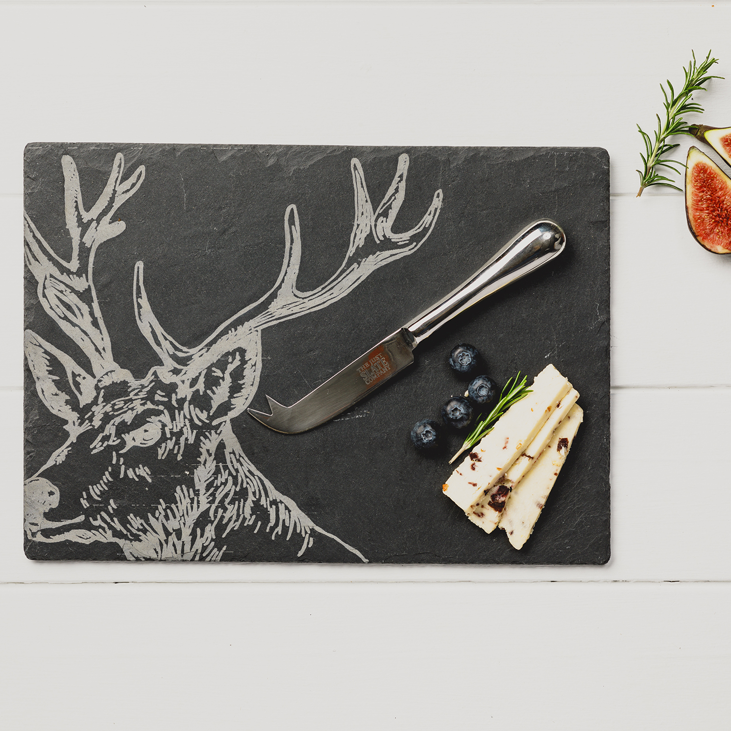 The Just Slate Company – Stag Engraved Slate Cheese Board & Knife Gift Set