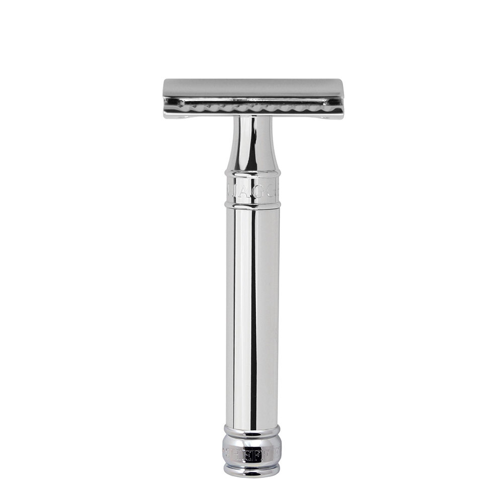 Edwin Jagger – Chrome Double Edge Safety Razor with Feather Blade in Gift Box