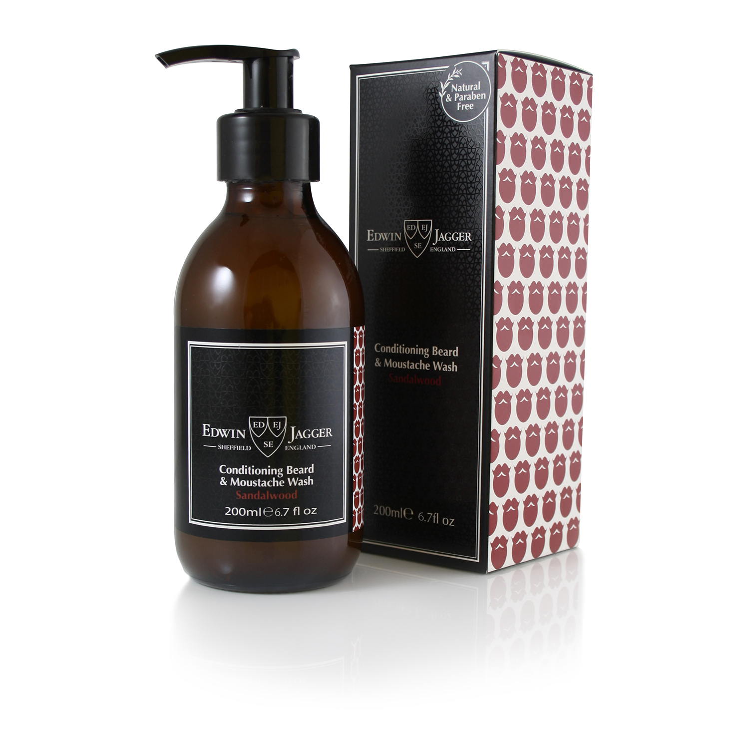 Edwin Jagger – Sandalwood Conditioning Beard/Moustache Wash & Red Comb Set