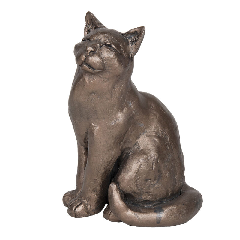 Frith Sculpture – Ellie – Sitting Cat in Bronze Resin by Paul Jenkins in Box