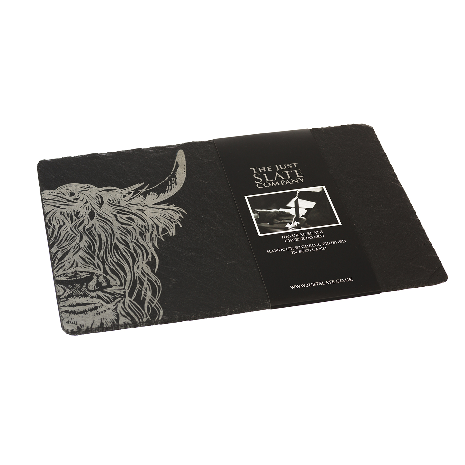 The Just Slate Company – Highland Cow Engraved Rectangular Slate Cheese Board